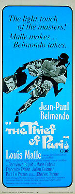 THIEF OF PARIS 1967 Jean-Paul Belmondo, Genevieve Bujold US INSERT POSTER