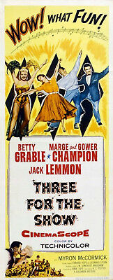 THREE FOR THE SHOW 1955 Betty Grable, Marge & Gower Champion US INSERT POSTER