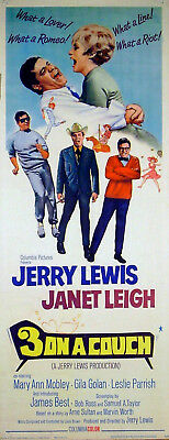 THREE ON A COUCH 1966 Jerry Lewis, Janet Leigh US INSERT POSTER