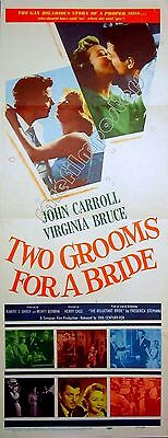 TWO GROOMS FOR A BRIDE 1957 Virginia Bruce John Carroll US INSERT POSTER