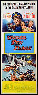 UNDER TEN FLAGS 1960 Van Heflin, Charles Laughton US 14x36 POSTER