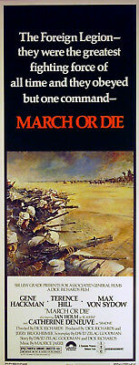 MARCH OR DIE 1977 Gene Hackman, Terence Hill, Catherine Deneuve US 14x36 POSTER