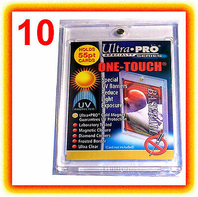 10 Ultra Pro ONE TOUCH MAGNETIC 55pt UV Card Holder Display Case 81909-UV 55