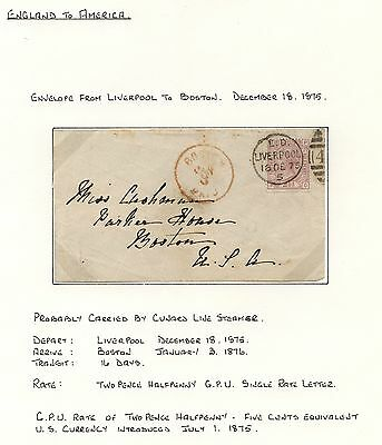 Great Britain #66 pl 3 on cover to US  1875  written up  nice            APM0311