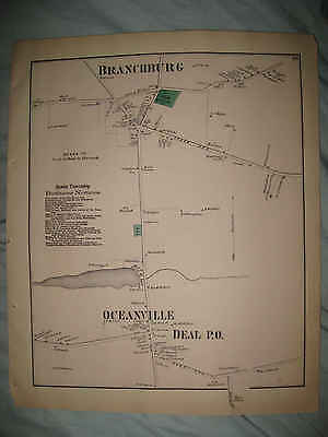 Rare Superb Antique 1873 Deal Ocean Branchburg New Jersey Handcolored Map Nr