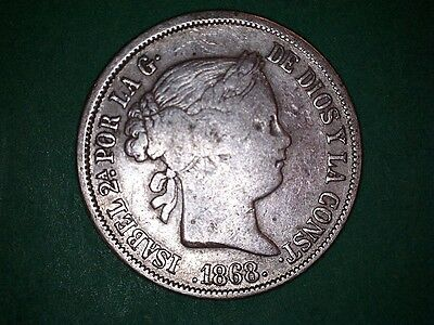 Spain Philippines 20 Centavos Isabel Ii 1868 #807........more Coins In My Store