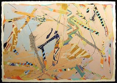 """Sally Anderson """"Assemblage '87 #26"""" Original Acrylic Painting Artwork Paper OBO"""