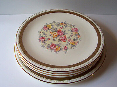 Vtg Taylor Smith & Taylor Pink Yellow Roses 4 Luncheons 1 Dinner Plate 1940s USA