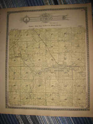 Antique 1913 Otsego Township Allegan County Michigan Handcolored Map Superb Nr