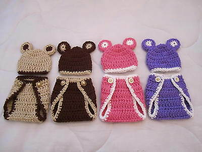 2-Pc. Crocheted Diaper Cover & Hat  Micro Preemie*ooak Baby Or Reborn Doll Dolls