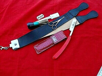 VINTAGE STRAIGHT CUT THROAT RAZOR With LEATHER STROP Double Sided+Safety Scissor