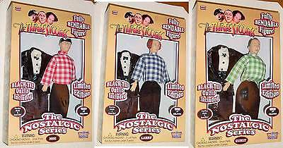 "Three Stooges Moe Larry Curly 9"" Bendable Figures Black Tie Outfits + Bonus!!!!!"
