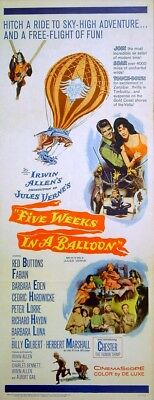 FIVE WEEKS IN A BALLOON 1962 Red Buttons, Cedric Hardwicke Peter Lorre US INSERT