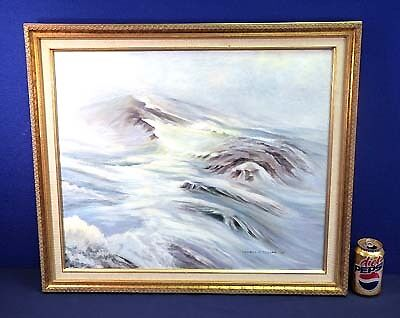 """Oil Painting on Canvas by Lowell N. Miller White Waves in the Fog 20""""x24"""""""