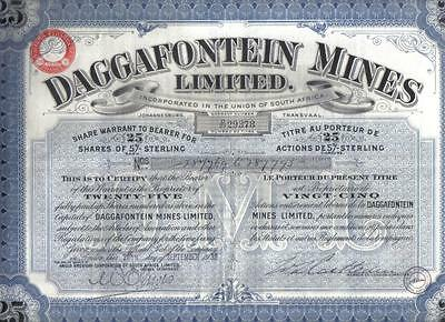 South Africa 1938 Daggafontein Gold Mines 25 shares Uncancelled coupons Waterlow
