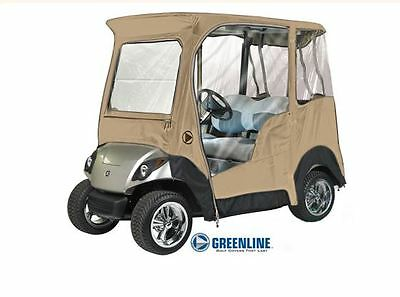 Custom Drivable 2 Person Golf Cart Enclosure Cover for Yamaha Drive - Sand
