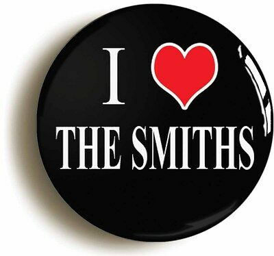 I HEART LOVE THE SMITHS BADGE BUTTON PIN (Size is 1inch/25mm diameter)