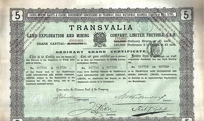 Transvaal South Africa 1892 Transvalia Land Exploration Mining £5 Uncancelled