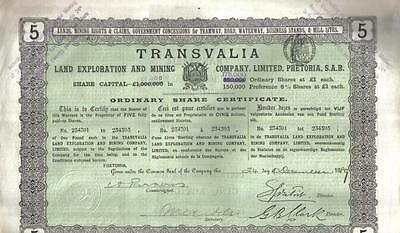 Transvaal South Africa 1889 Transvalia Land Exploration Mining £5 Uncancelled