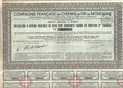 France 1931 French Railways Mountain Co 250 fr funicular air Uncancelled coupons