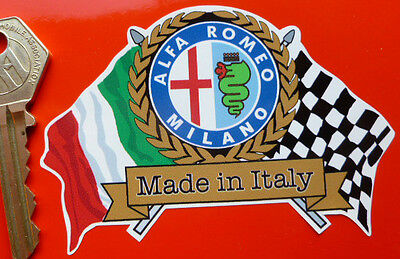 ALFA ROMEO Flags & Scroll classic sports car sticker Mito AlfaSud GTV Spider etc