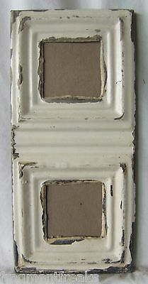 1890's CEILING TIN Picture Frame Double  3 x 3 Cream RECLAIMED A1