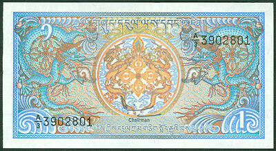 BHUTAN  -  1 NGULTRUM  1986    -  P 12b  Uncirculated Banknotes