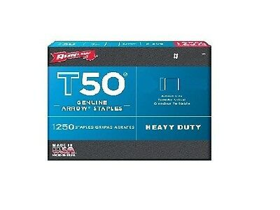 "ARROW T50 #505 T50 STAPLES 5/16"" 8MM FLAT CROWN PACK 1250 STAPLES x 1"