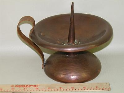 Antique Hand Hammered Copper Arts & Crafts  Champerstick Candle Holder Signed