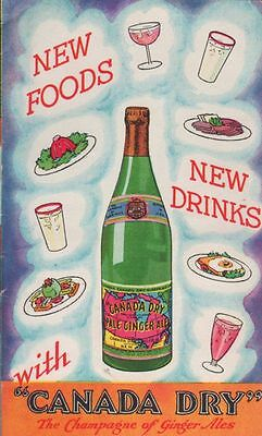 Vintage Canada Dry Soda Recipe Booklet - The Champagne of Ginger Ale
