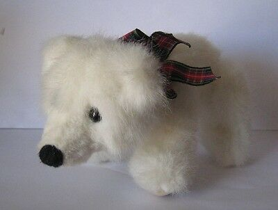 Cute White Grizzby Russ Berrie Bear Plush with Jointed/Moveable Legs