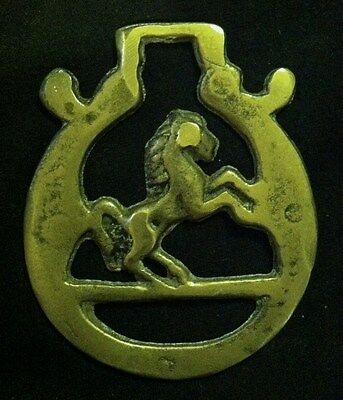 Rare Vintage SMALL Harness Horse Brass REARING HORSE OFFSIDE!! WOW YOUR WALLS!!