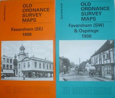 Old Ordnance Survey 2 Maps Faversham SE & SW 1906 Kent  Godfrey Edition New