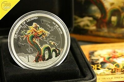 Tuvalu Dragons of Legend Chinese Dragon 1 Unze oz Silber PP 2012