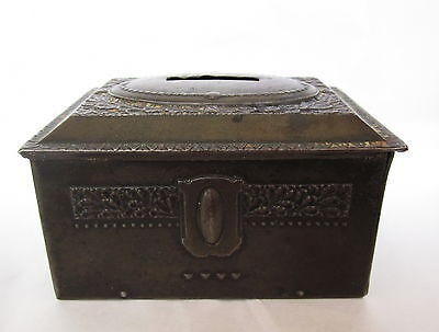 Vintage Antique Art Nouveau Floral Metal Pressing Tin Money Box