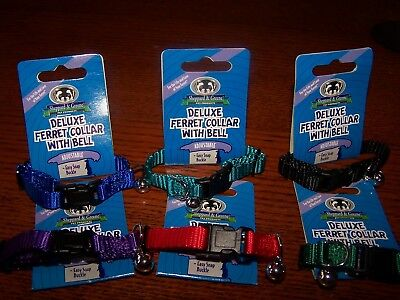 6 Ferret Collars - Deluxe Ferret or Tiny Dog Collar w Bells - 6 Colors