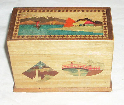 Vintage Wood Japanese Marquetry Playing Card Box & Double Deck Mint Sealed Cards