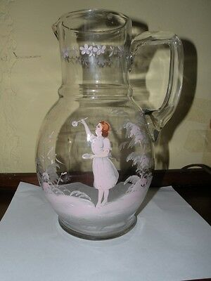 "Antique Mary Gregory Glass Water Pitcher 10""t Unusual Shape"