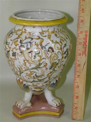 VINTAGE ASIAN FOOTED VASE URN CRACKLE POTTERY PAINTED CHERUBS MARKED