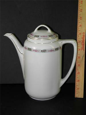 VINTAGE LARGE COFFEE TEA POT HAND PAINTED FLORAL MARKED KPM SILESIA