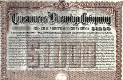 USA 1903 Mortgage 4% Gold Bond Consumers Brewing Company $1000 Uncancelled beer