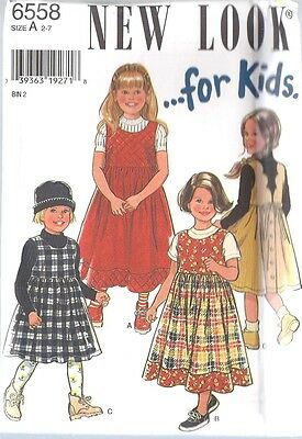 6558 Vintage UNCUT New Look SEWING Pattern Little Girls Dress 2 - 7 OOP SEW FF