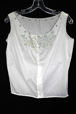 Antique Edwardian Hand Embroidered Off White Cotton Camisole Top Size 38-40