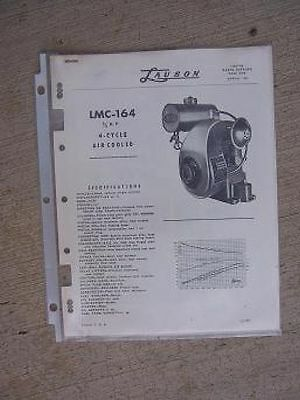 1956 Lauson Engine Parts Catalog List  LMC-164   3/4 HP 4 Cycle Air Cooled J