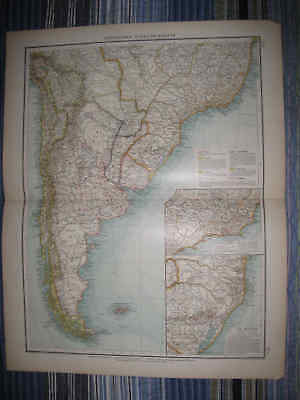 Huge Gorgeous Antique 1880 Southern South America German Map Patagonia Rio Nr