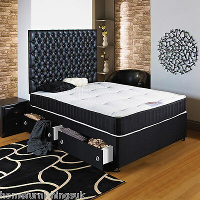 """4Ft 6"""" Double Black Divan Bed+Ortho Mattress+Headboard+Drawers - Free Delivery"""