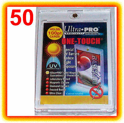50 Ultra Pro ONE TOUCH MAGNETIC 100pt UV Card Holder Display Case 81911-UV 100