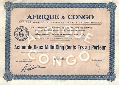 Africa Congo France 1907 Agricultural Industrial Co 2500 fr Uncancelled coupons