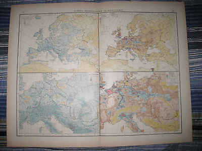 Huge Gorgeous Antique 1880 Europe Census Population Map Ireland Russia Germany N