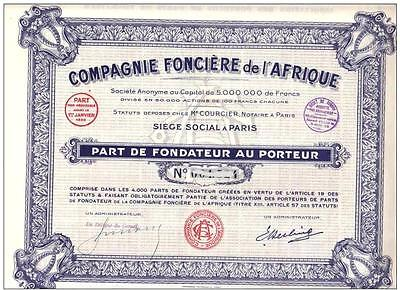 Africa France bond Land Company of Africa 1937 Part Fond Uncancelled coupons